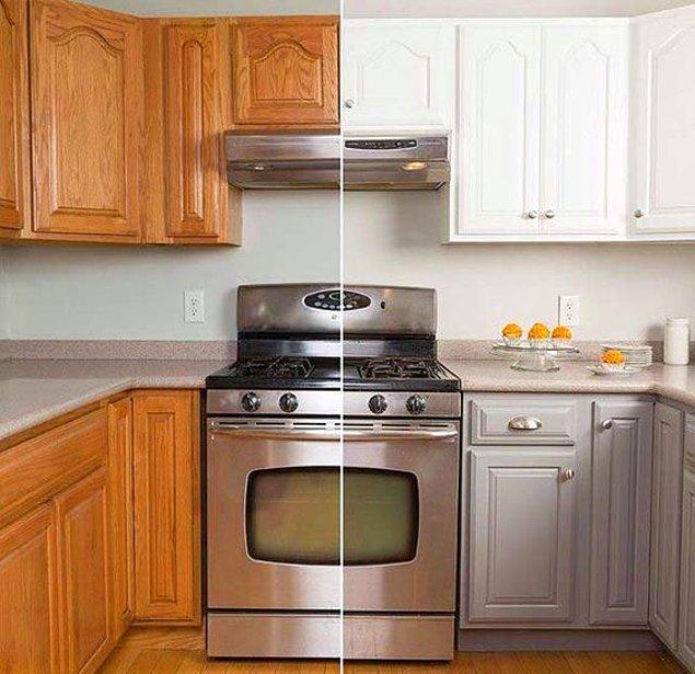 7. Değiştirsem dünyalar kadar tutar dediğiniz mutfakları keyifle boyayarak da harikalar yaratabilirsiniz.