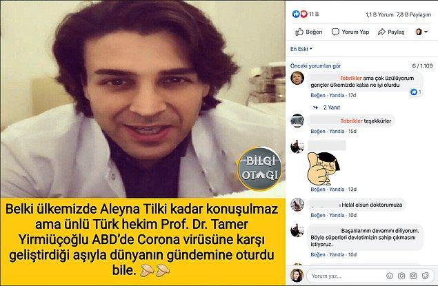 """Facebook'taki """"Bilgi Otağı"""" adlı sayfada yer alan gönderide Türk hekim Prof. Dr. Tamer Yürmiüçoğlu'nun bu aşıyı geliştirdiği iddiası işte şöyleydi:"""