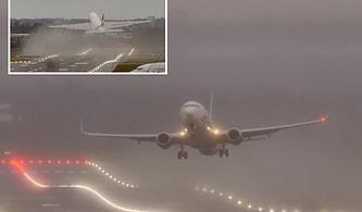 Avrupa'yı Vuran Ciara Fırtınası Nedeniyle İniş Yapamayan Uçağın Kaydedilen Korkutucu Görüntüleri!