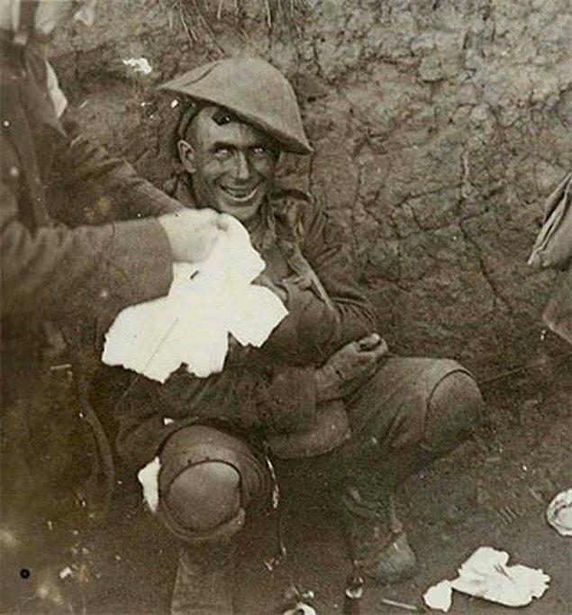 5. I. Dünya Savaşı sırasında şoka girmiş bir asker: