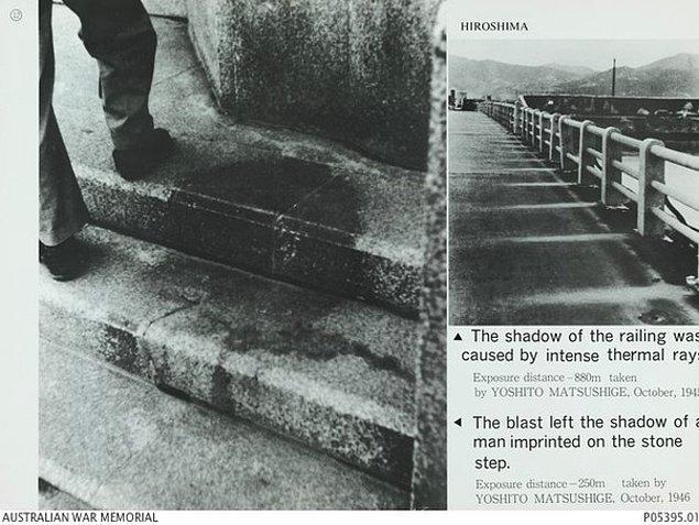 10. 1945 yılında Hiroşima'ya atılan atom bombasından dolayı yanarak ölen bir adamın ardında bıraktığı atomik gölge...
