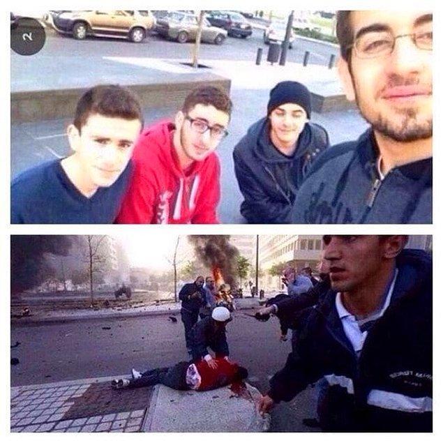 14. Lübnan'daki bir grup arkadaşın çektiği fotoğraftan saniyeler sonra arkadaki altın rengi araba patlıyor ve ikinci görselde de kırmızı sweatshirtlü çocuğun yerde yatan bedenini görüyoruz.