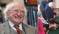 İrlanda Cumhurbaşkanı Michael D. Higgins'in Köpeğinin Yüzlerce Davetlinin Arasında Dostunu Arayıp Bulunca da Göbeğini Sevdirdiği Müthiş Anlar!