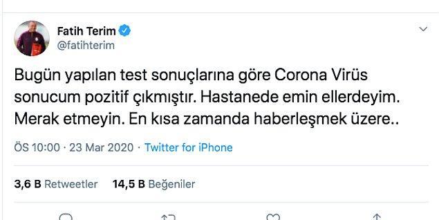Fatih Terim'in koronavirüs testi pozitif çıktı.