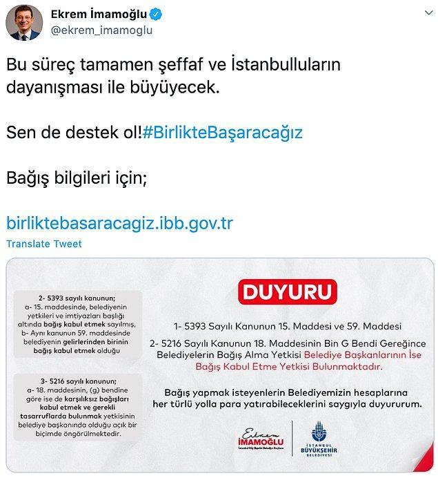 İmamoğlu, yaptığı paylaşımla belediyenin topladığı bağışın yasal olduğunu ifade etti