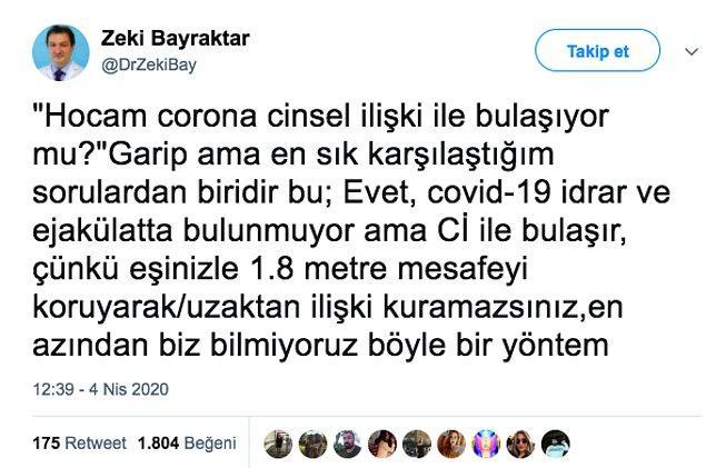 İstanbul Medipol Üniversitesi Tıp Fakültesi Öğretim Üyesi, Ürolog Prof. Dr. Zeki Bayraktar hocamız, kendisine son zamanlarda en sık sorulan soruya böyle cevap verdi.