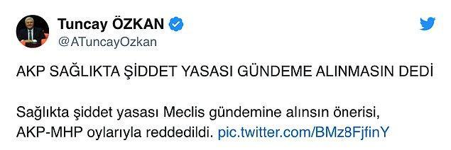 CHP Genel Başkan Yardımcısı ve İzmir Milletvekili Tuncay Özkan sosyal medya üzerinden AKP ve MHP'nin oylarına tepki gösterdi👇