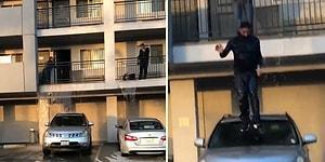 Otel Odasını Su Basınca Çareyi Balkondan Arabanın Üzerine Atlamakta Bulan Adam