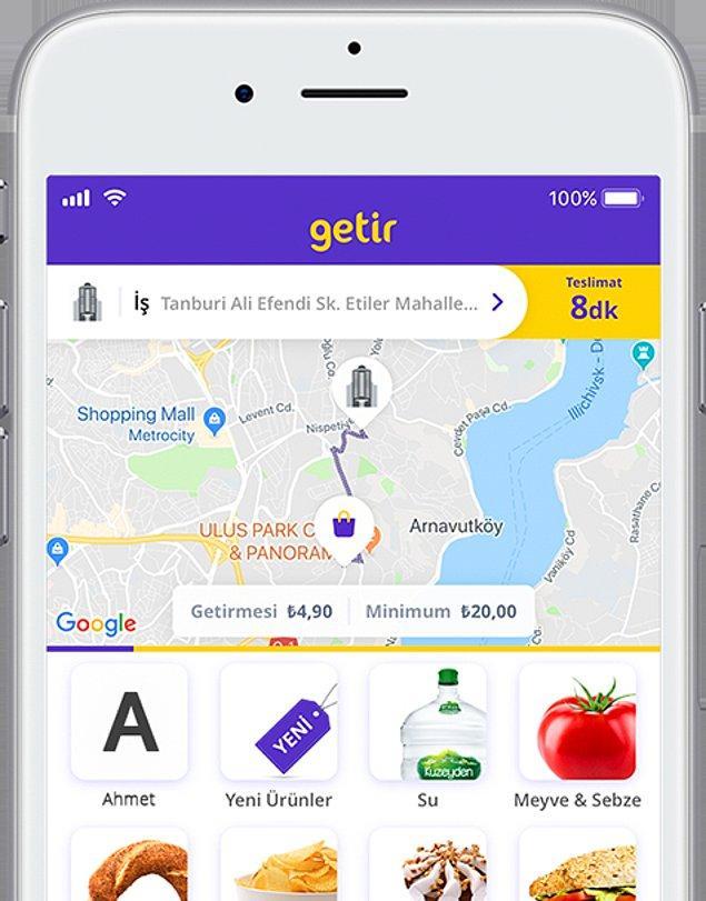 Getir'de sipariş verebilmek için öncelikle mobil uygulama indirmeniz gerekiyor. Uygulamayı indirdikten sonra konumuzu açarak/konum girerek