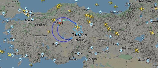 Özel sefer, İç Anadolu Bölgesi Üzerinde ay ve yıldız rotasını izledikten sonra tamamlandı.