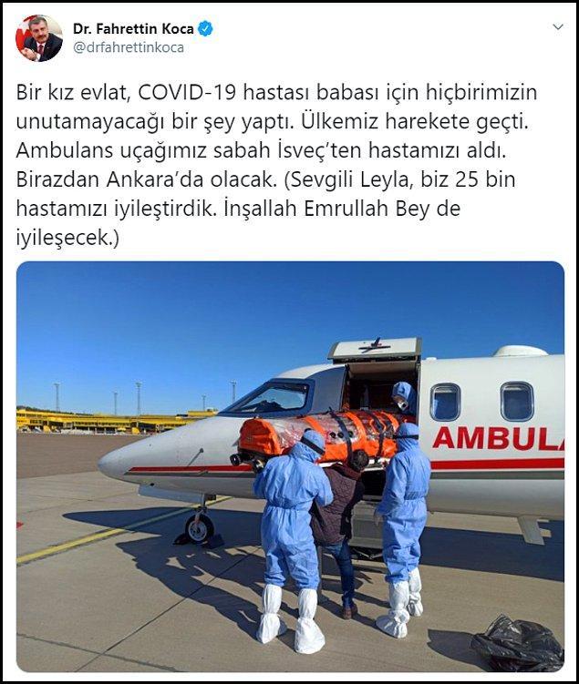 Bakan Koca, saat 13.00'te paylaştığı bir mesaj ile Gülüşken'in İsveç'ten alındığını ve Türkiye'ye doğru yola çıktığını duyurdu. 👇