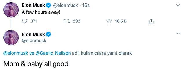 Elon Musk bugün attığı bir tweet ile bebeklerinin dünyaya geldiğini duyurdu.
