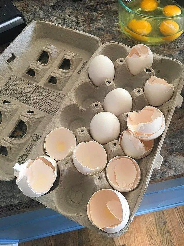 """16. """"Erkek arkadaşım yumurta kabuklarını çöpe atmak yerine yerine geri koyuyor."""""""