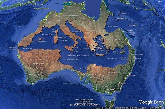 14. Akdeniz, Avustralya'nın içine neredeyse tam sığıyor:  🤔