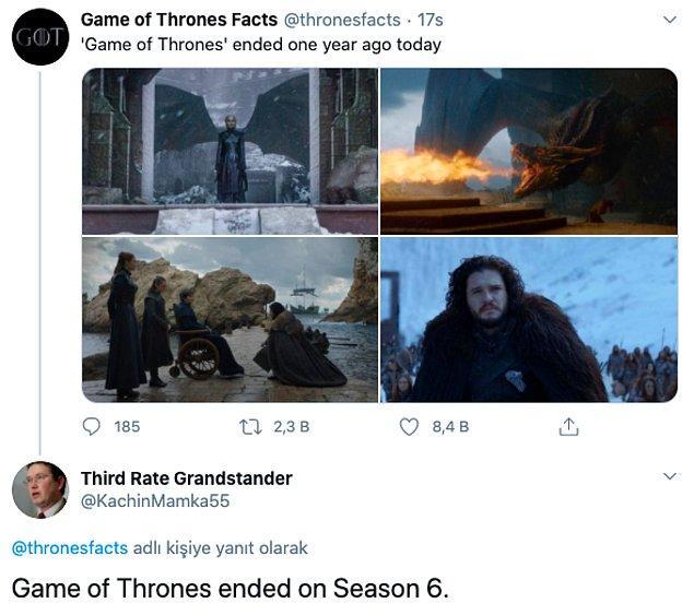 "7. ""Game of Thrones 6. sezonda bitti."""