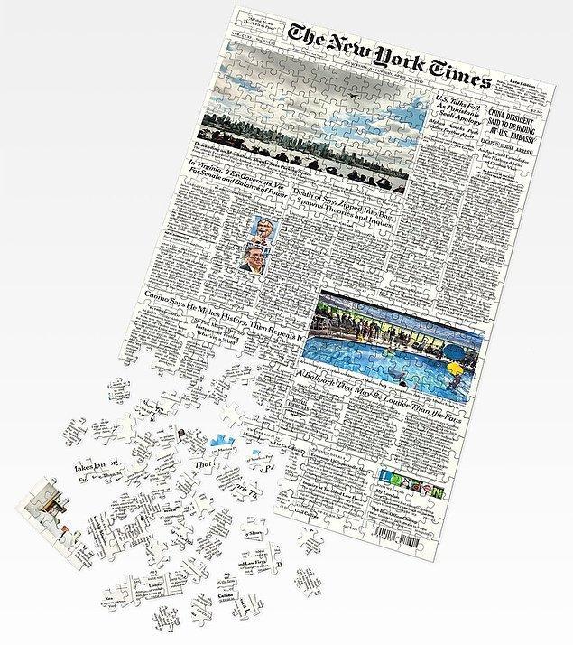 3. The New York Times gazetesinin ön sayfasını yeniden oluşturmanızı sağlayacak bu puzzle:
