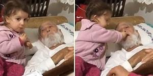 Yatalak Dedesine Üfleyerek Fıstık Yediren Ufaklığın Aşırı Tatlı Anları