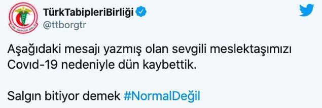 Türk Tabipler Birliği de Çevli'nin vefatı sonrası bir mesaj yayımladı: 'Salgın bitiyor demek normal değil'