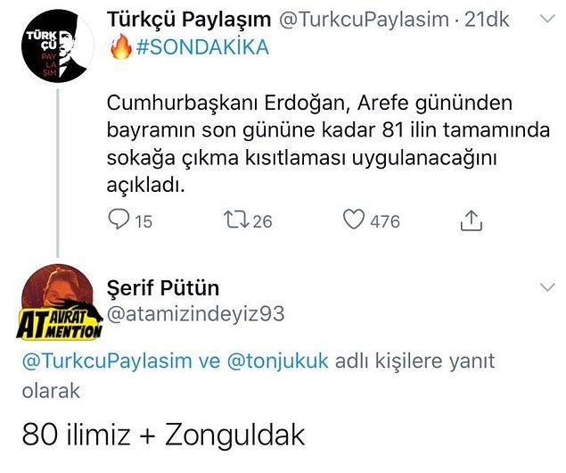 6. Bir sürpriz yapıp Zonguldak'a yasak gelmese...