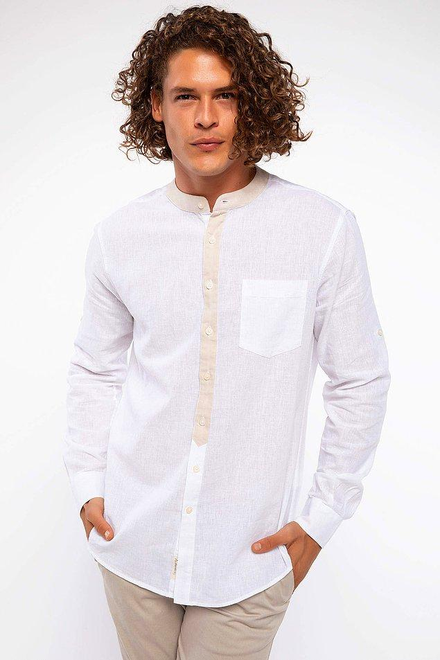 6. Hakim yaka slim fit bu gömlek Defacto'nun en çok satanları arasında!