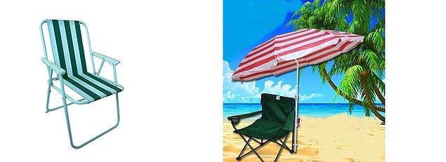 """11. Özel plajlar sana göre değil, """"Sandalyemi; şemsiyemi alır giderim."""" diyorsan herkesin kıskanacağı ürünleri de şuraya bıraktım:"""