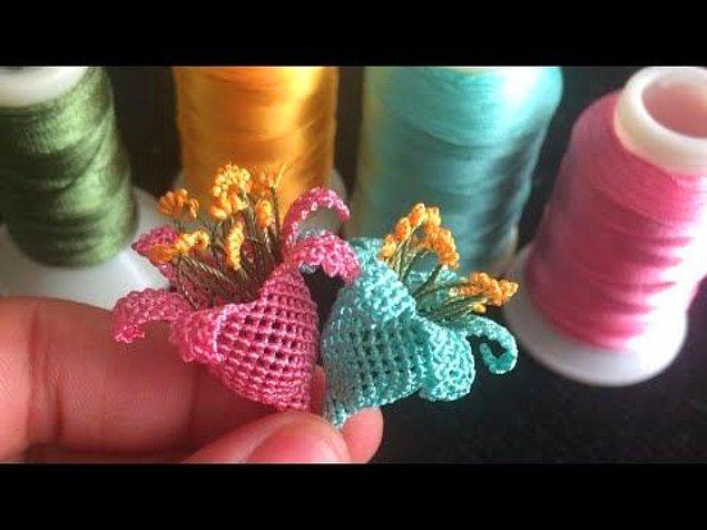 14. Üç boyutlu oya modellerinden çan çiçeği iğne oyası :)