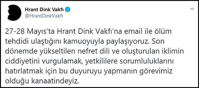 Hrant Dink Vakfı tarafından yapılan açıklama şöyle 👇