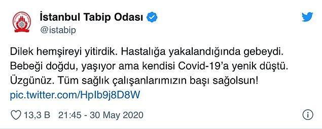 İstanbul Tabip Odası da Dilek hemşire için bir mesaj paylaşmıştı