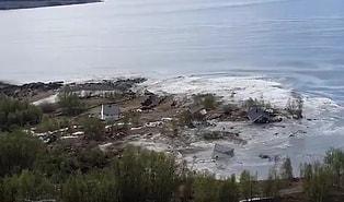 Norveç'te Gerçekleşen Heyelan Sırasında Evlerin Sürüklendiği Korkutucu Görüntüler