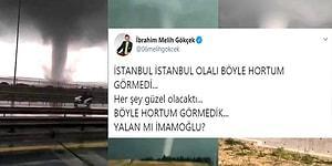 İ. Melih Gökçek'in İstanbul'da Çıkan Hortumu Ekrem İmamoğlu'nun Çıkardığını Düşündüğü Paylaşımı ve Ona Gelen Tepkiler