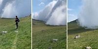 Doğa Yürüyüşüne Çıkan Gezginin Kamerasından Bir Dağın Tepesindeki Bulutun Muhteşem Görüntüsü