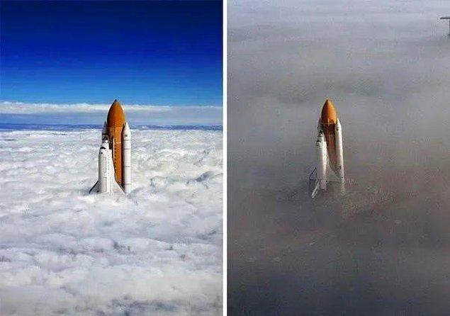 8. Uzay mekiğinin bulutları aşma anını gösterdiği iddia edilen fotoğraf, sağdaki halinin montajlanmış hali.