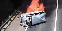 Kaza Yaptıktan Sonra Alev Alan Aracın İçindeki İnsanları Kurtaran Kahraman Adam