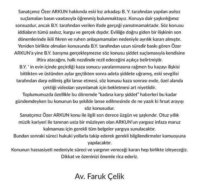 Özer Arkun'un avukatından da şöyle bir açıklama geldi hemen ardından. 👇
