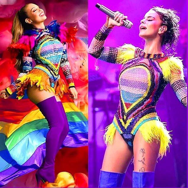 15. Simge'nin geçtiğimiz günlerde Harbiye'de verdiği konseri için giydiği kostüm, Latin şarkıcı Thalia'nın kıyafetinin kopyası çıktı!