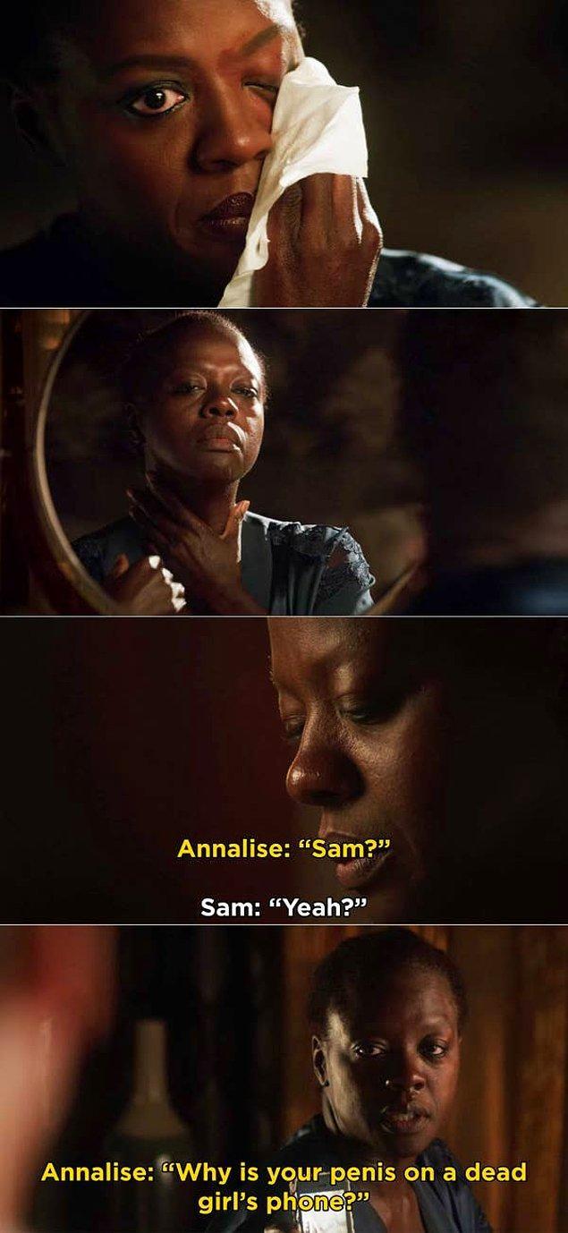 3. 'How to Get Away with Murder'da, Annalise'in Sam'e neden Lila'nın telefonunda penisin fotoğrafının olduğunu sorduğu sahne.