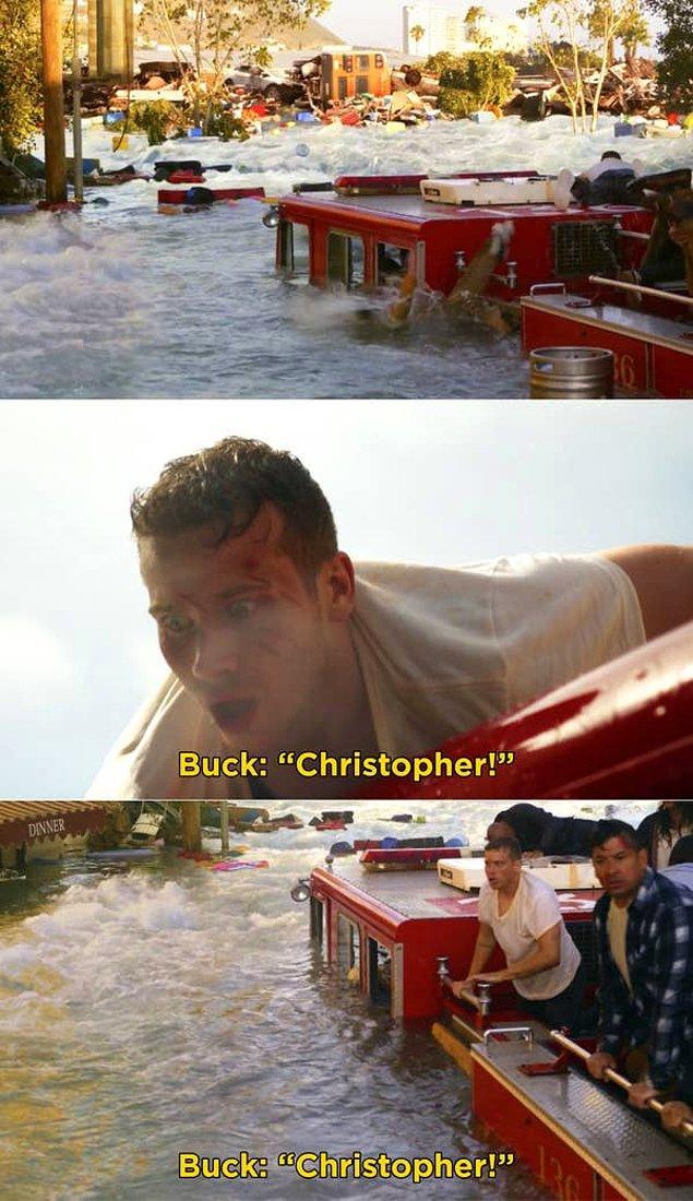 19. '9-1-1'da, tsunami esnasında Christopher'ın itfaiye aracından düştüğü sahne.