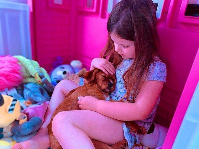 """10. """"Kızım konuşmaya başladığı andan beri yavru bir köpek istiyordu. Bugün onun en mutlu günü."""""""