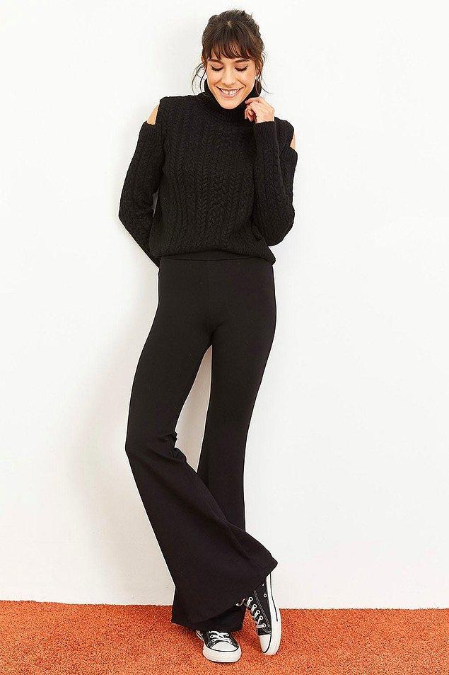 9. İspanyol paça bu tatlı pantolonun fiyatı şu anda sadece 37 TL!