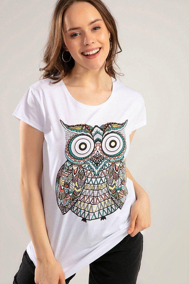 13. Bu baykuş desenli t-shirt 10 TL'ye düşmüş. Antrasit rengi de var.