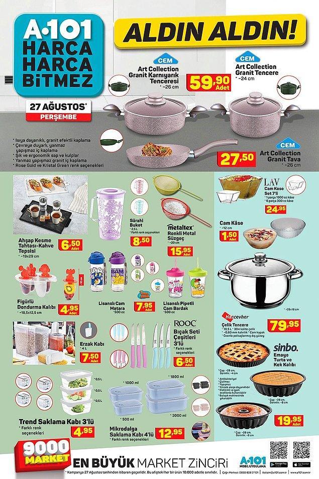 Yine çok çeşitli mutfak eşyaları var.
