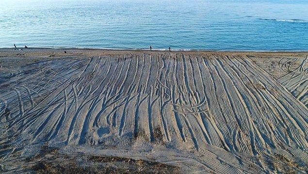 'Özel çevre koruma bölgesi' olan sahilde 1000 metrelik kısım ağır iş makineleri ile tarla gibi sürüldü