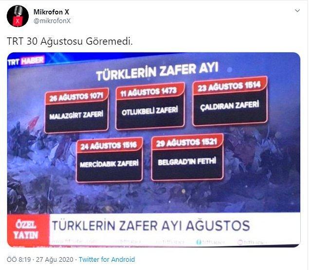 """1. """"TRT Haber'in 'Türklerin Zafer Ayı' yayınında 30 Ağustos'un olmadığı iddiası"""""""