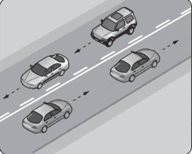 12. Şekildeki kara yolu bölümünde, yan yana çizilmiş kesik ve devamlı yol çizgileri sürücülere aşağıdakilerden hangisini bildirir?