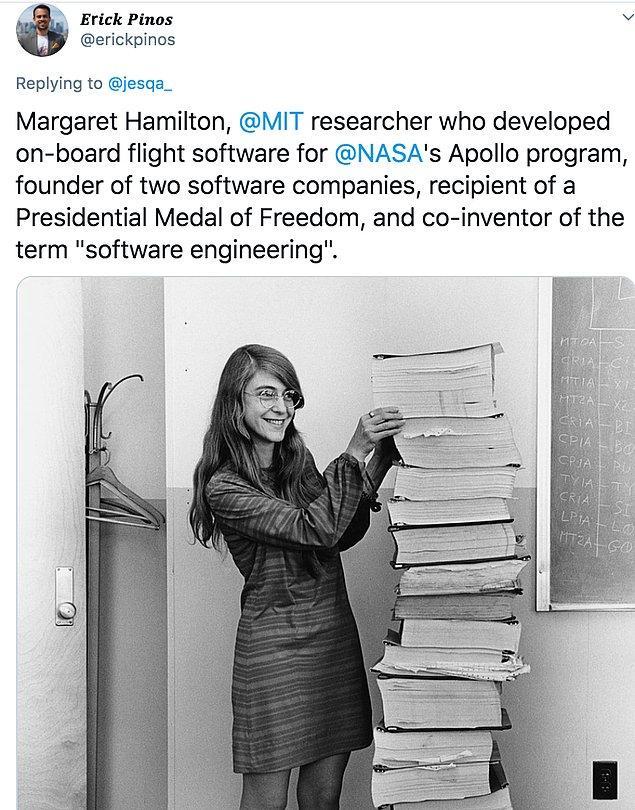 """4. """"NASA'nın Apollo programı için uçak içi uçuş yazılımı geliştiren MIT araştırmacısı Margaret Hamilton."""""""
