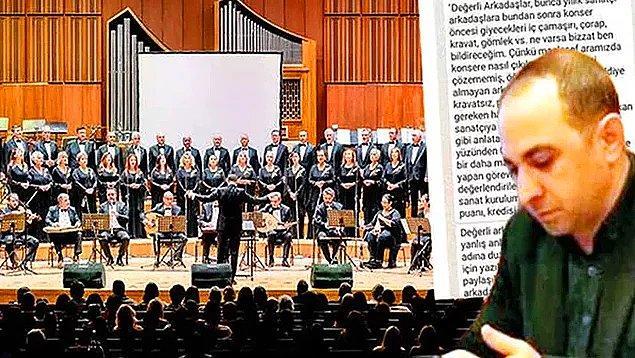7. Ankara Devlet Klasik Türk Müziği Korosu Müdürü'nün sanatçılara 'Giyeceğiniz iç çamaşırını ben bildireceğim' mesajı atması...