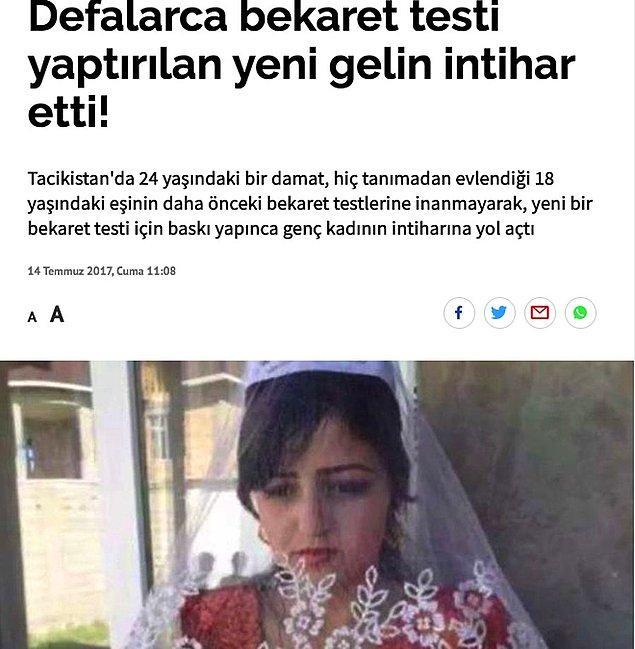 Yani bu zar ya da himen, bir kadının evlenmeden önce kimseyle birlikte olmadığını gösteriyor insanlar için. Çünkü bir kadının namuslu olması, daha önce kimseyle birlikte olmamasını gerektirir (!) diye düşünüyorlar. Sırf bu yüzden yaşanan intiharlar ve cinayetler ise hiç kimsenin umrunda değil.