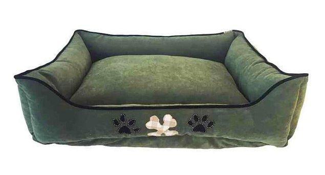 Orta M Boy Köpek Yatağı Yeşil Pati Nakışlı Siyah Biyeli