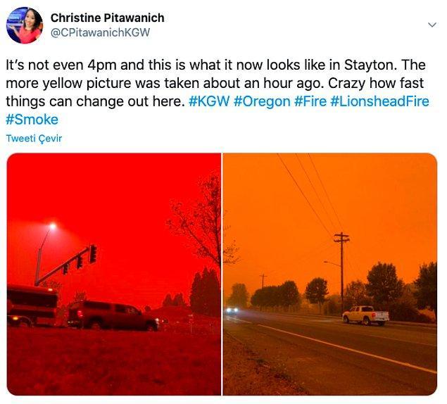 """7. """"Saat 4 bile değil, Stayton böyle gözüküyor. Daha sarı olan fotoğraf yaklaşık 1 saat önce çekildi."""""""