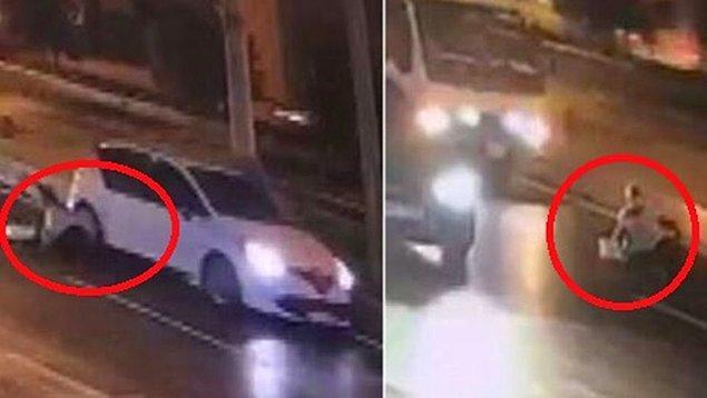 Şans eseri kadın araçların altında kalmaktan son anda kurtulurken o anlar güvenlik kamerasına yansıdı.